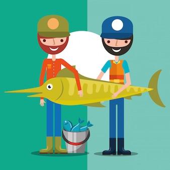 Kreskówka rybak połowów