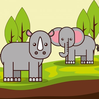 Kreskówka safari zwierząt
