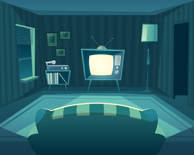 Kreskówka salon w nocy. widok z przodu od sofy do telewizora, odtwarzacz winylu.