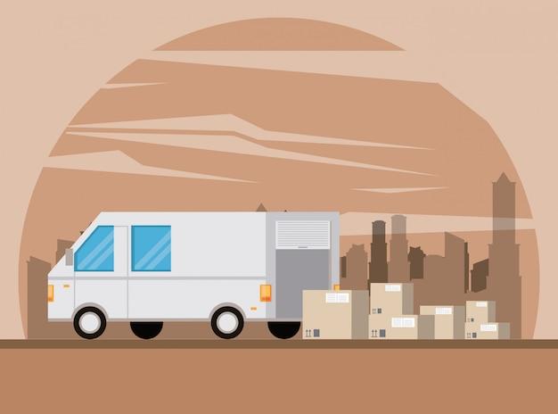 Kreskówka samochód dostawczy