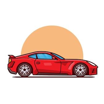 Kreskówka samochód sportowy. transport pojazdu na białym tle