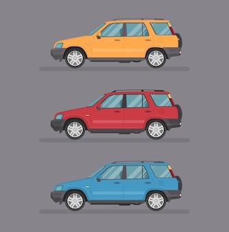 Kreskówka samochód suv. płaski styl. widok z boku, profil