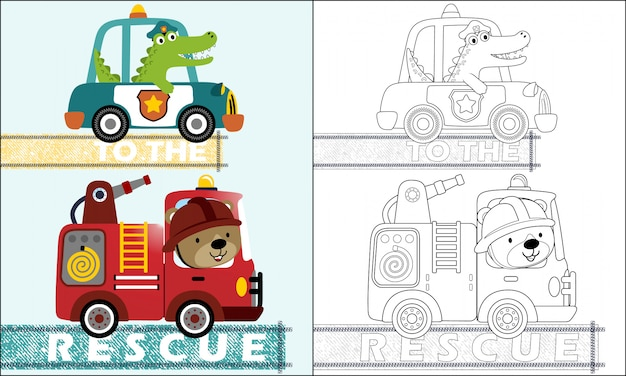 Kreskówka samochody ratownicze z zabawnym kierowcą