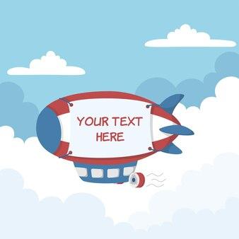 Kreskówka samolot na ogrzane powietrze z dużym banerem promocyjnym