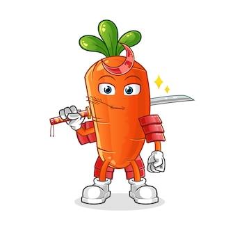 Kreskówka samuraj marchewki.