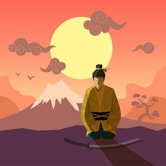 Kreskówka samuraj w tradycyjnej płaskiej ilustracji kimono