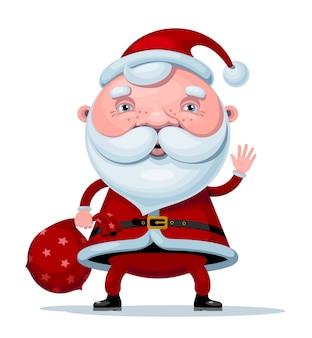 Kreskówka santa claus stojący z worek prezentów na białym tle. rgb. kolor globalny