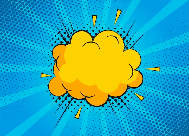 Kreskówka sceny bańki superbohatera na niebieskim tle. strona albumu z zabawnymi komiksami z chmurą i dymkiem. układ strony komiksu. symbole i efekty dźwiękowe.