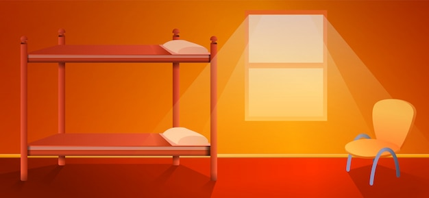 Kreskówka schroniska wnętrze z łóżkiem, wektorowa ilustracja