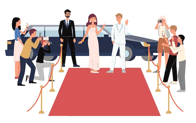 Kreskówka sławni ludzie przybywający na czerwony dywan na limuzynie