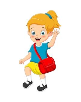 Kreskówka śliczna dziewczyna idzie do szkoły z plecakiem