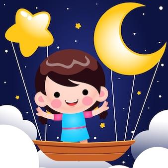 Kreskówka śliczna mała dziewczynka jazda na latającej łodzi w nocy ilustracja