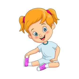 Kreskówka śliczna mała dziewczynka robi jogę