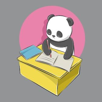 Kreskówka śliczna panda siedzi i pisze