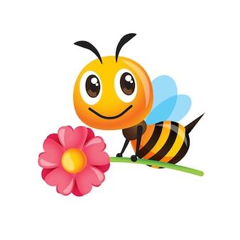 Kreskówka śliczna pszczoła niosąca duży kwiat
