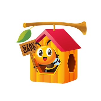 Kreskówka śliczna pszczoła trzymająca szyld pozostaje bezpieczna w domu o strukturze plastra miodu, który wisi na gałązce drzewa