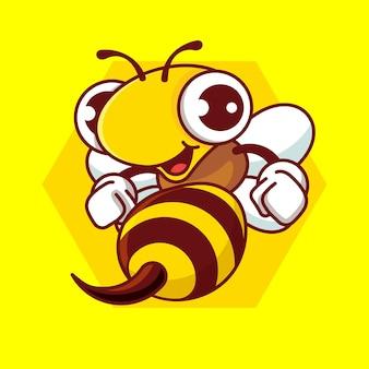 Kreskówka śliczna pszczoła z ostrym żądłem