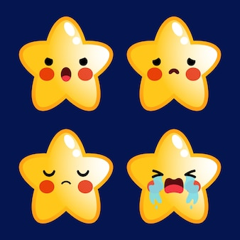 Kreskówka śliczne gwiazdy emotikony avatar twarz negatywne emocje ustawione zdjęcie