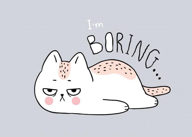 Kreskówka ślicznego kota nudny wektor.