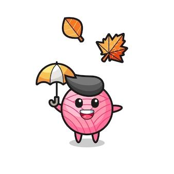 Kreskówka ślicznej piłki przędzy trzymającej parasol jesienią, ładny styl na koszulkę, naklejkę, element logo