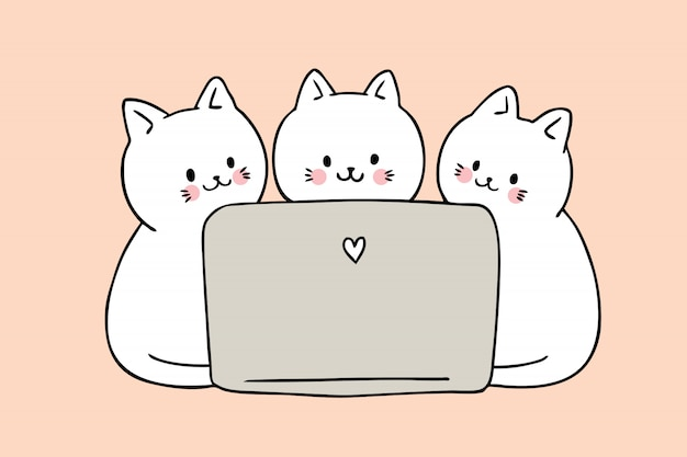 Kreskówka śliczni koty bawić się komputerowego wektor.