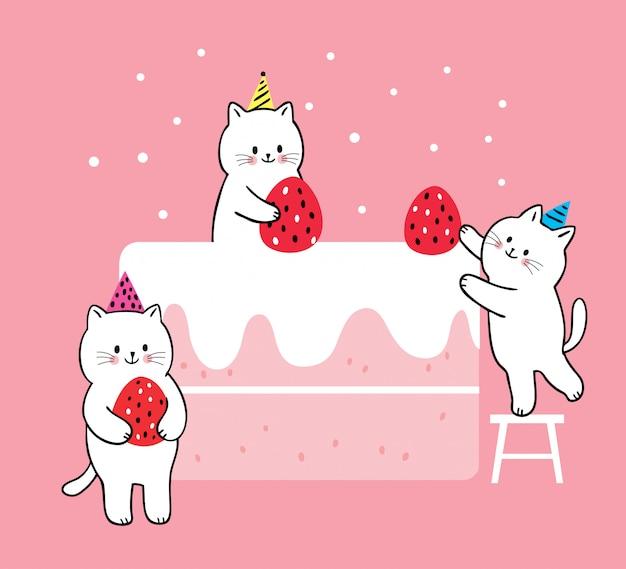 Kreskówka śliczni koty gotuje dużego truskawka torta wektor.