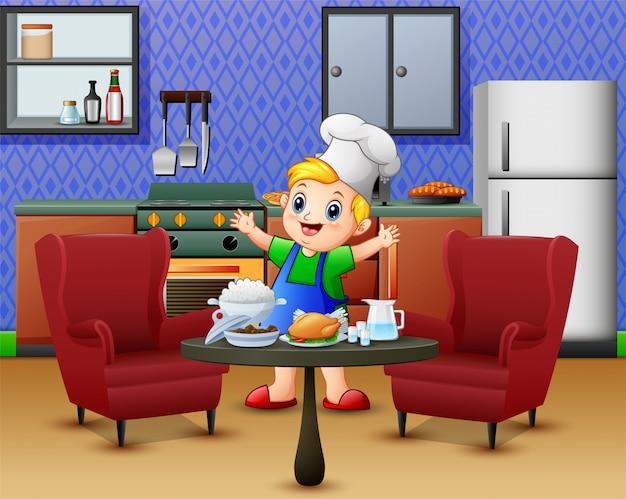 Kreskówka śliczny chłopiec w fartucha i szefa kuchni kapeluszu