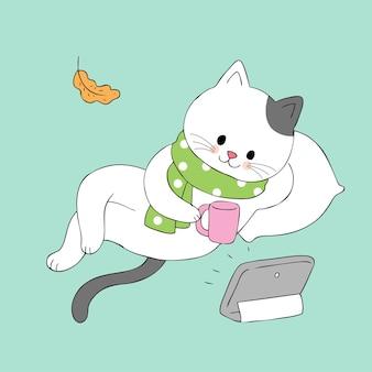 Kreskówka śliczny jesień kot relaksuje wektor.