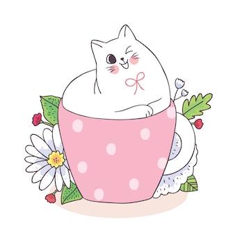 Kreskówka śliczny kot w filiżance kawy i kwiacie