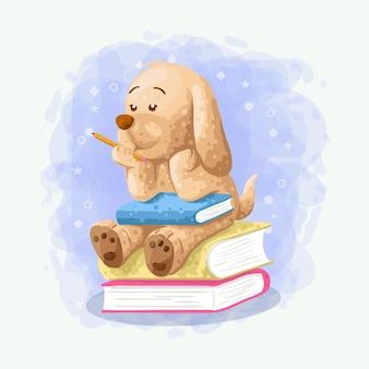 Kreskówka śliczny pies siedzi na książkowym ilustracyjnym wektorze