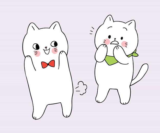 Kreskówka śliczny śmieszny biały kot farted przyjaciela kota wektor.
