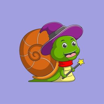 Kreskówka ślimak jest czarownicą