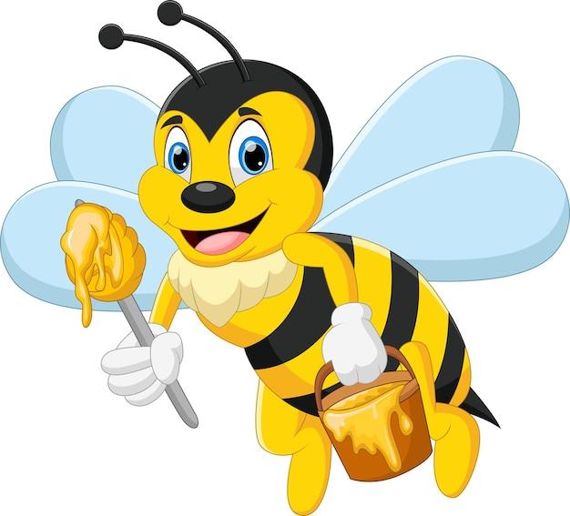 Kreskówka słodka pszczoła niosąca miód w wiadrze