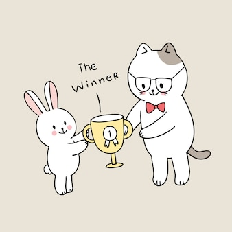 Kreskówka słodka z powrotem do nauczyciela i kota studenckiego dostaje nagrodę