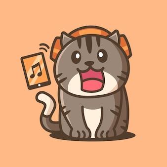 Kreskówka słodki kot słuchający muzyki