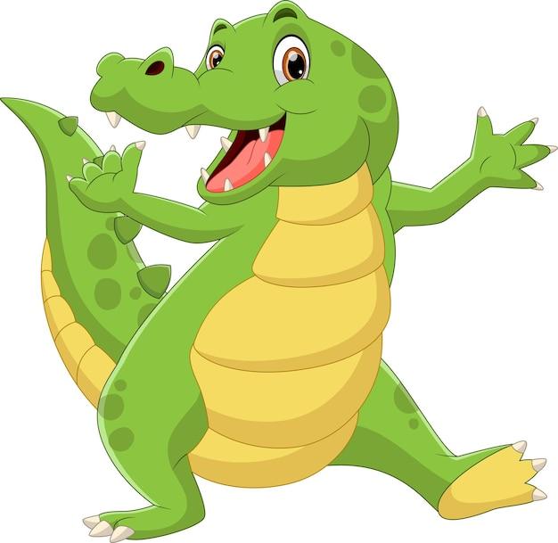 Kreskówka Słodki Krokodyl Macha Na Białym Tle Premium Wektorów