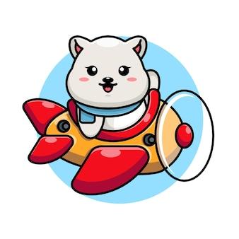 Kreskówka słodki miś polarny jazdy samolotem