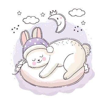 Kreskówka słodki sen, biały królik śpi w nocy