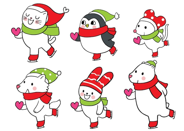 Kreskówka słodkie boże narodzenie i nowy rok zwierzęta na łyżwach i serce wektor