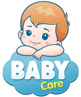 Kreskówka słodkie dziecko. koncepcja logo opieki nad dzieckiem