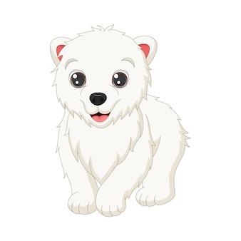 Kreskówka słodkie dziecko niedźwiedź polarny spaceru