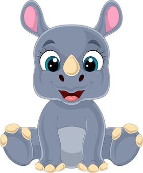 Kreskówka słodkie dziecko nosorożec siedzi