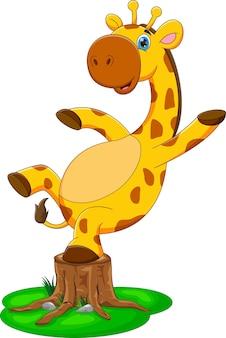 Kreskówka słodkie dziecko żyrafa stojąca