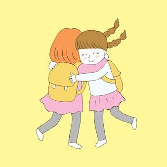 Kreskówka słodkie dziewczyny przytulanie wektor.