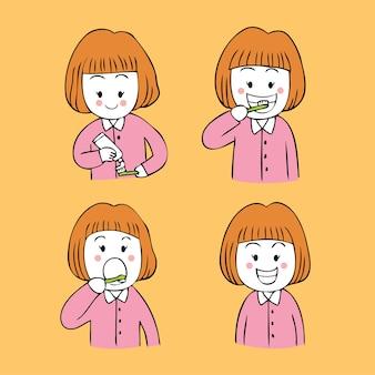 Kreskówka słodkie dziewczyny szczotki zęby zestaw wektor.