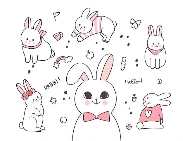 Kreskówka słodkie elementy urocze działania królika