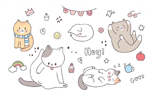 Kreskówka słodkie elementy urocze koty działania