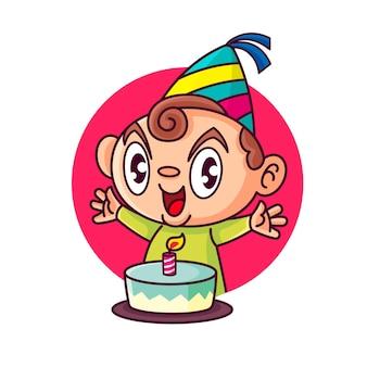 Kreskówka słodkie i szczęśliwe dziecko w kapeluszu urodzinowym z okazji urodzin