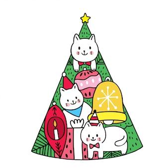 Kreskówka słodkie koty świąteczne i choinki.