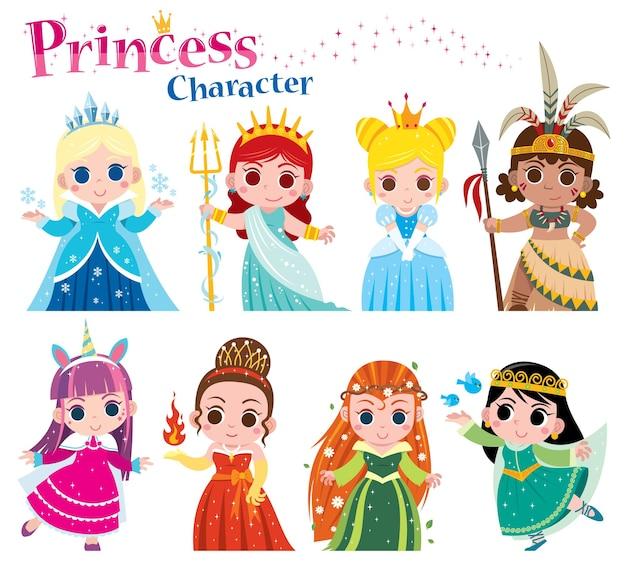 Kreskówka słodkie księżniczki kolekcji
